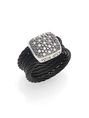 Click here for Diamond  18K White Gold & Stainless Steel Coil Rin... prices