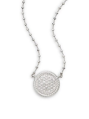 Click here for Diamond, 18K White Gold & Stainless Steel Pendant... prices