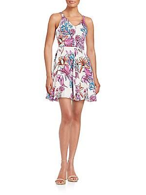 Trixy Floral-Print Silk Fit-&-Flare Dress