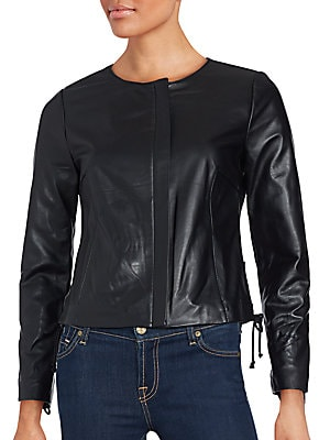 Lace-Up Detailed Leather Jacket