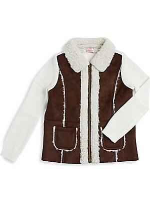 Toddler's & Little Girl's Faux Fur Knit Jacket