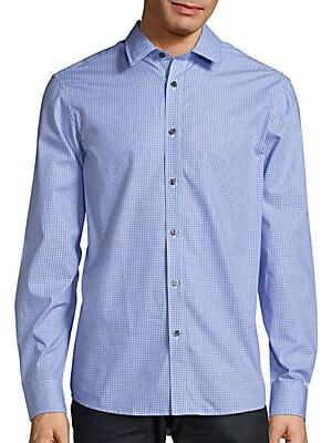 michael kors male tailoredfit check gingham shirt