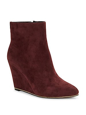 Biffy Chain-Trimmed Suede Wedge Ankle Boots