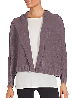 Cropped & Hooded Open Front Cashmere Cardigan