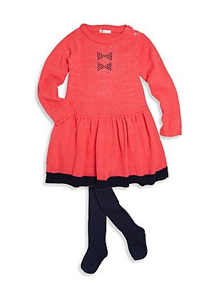 Baby's Contrast Border Hem Dress and Tights