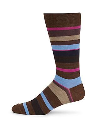 Thick Striped Merino Wool Mid-Calf Socks