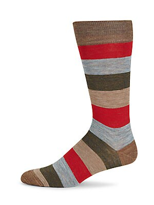 Colorblock Merino Wool Mid-Calf Socks