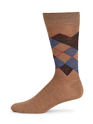Argyle Merino Wool Mid-Calf Socks