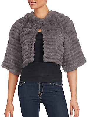 Solid Rabbit Fur Cropped Jacket