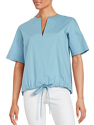Solid Drawstring Hem Top