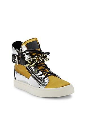 Metallic Leather & Satin Chain High-Top Sneakers