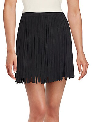 Solid Fringed Skirt