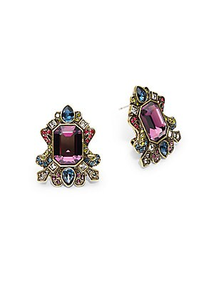 Swarovski Crystal, Multi-Color Rhinestones & Brass Ox Plated Regal Rhapsody Earrings