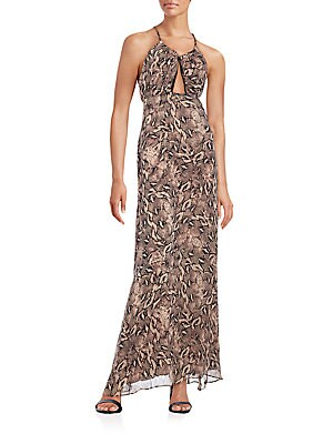 Snake Print-Silk Maxi Dress