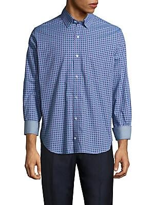 Regular-Fit Brisbane Neat Square Cotton Sportshirt