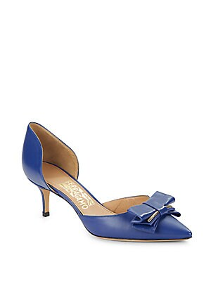 Leather Point Toe D'Orsay Pumps