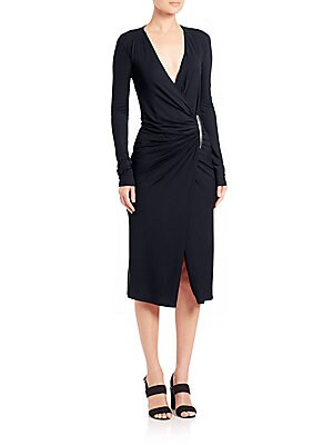 Surplice Neckline Long Sleeve Dress