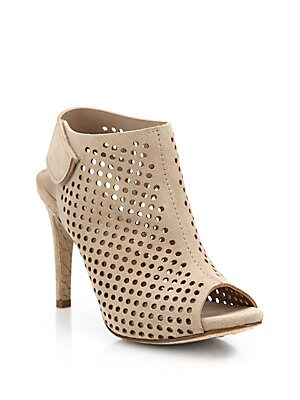 Sofia Perforated Suede Open-Toe Booties