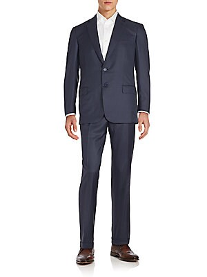 Regular-Fit Tonal Striped Wool & Silk Suit