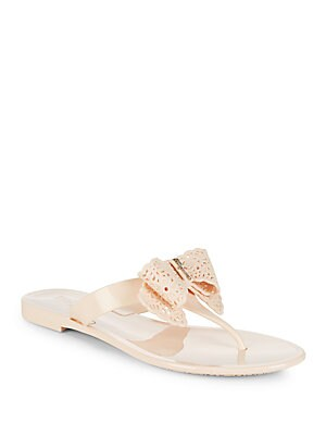 Pandy Bow Jelly Thong Sandals