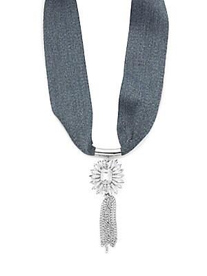 Chainlink Tassel Pendant Tie-Up Necklace