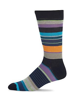 Muticolored Striped Combed Cotton-Blend Socks