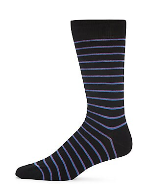 Pinstriped Combed Cotton-Blend Socks