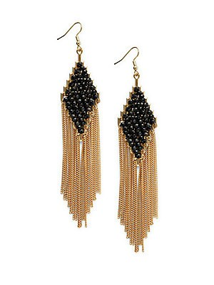 Faceted Stone & Chain Link Fringe Earrings