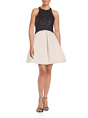 Sequined Top Fit-And-Flare Dress