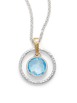Blue Topaz, 18K Yellow Gold & Sterling Silver Ring Pendant Necklace