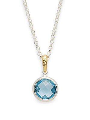 Topaz & 18K Goldplated Pendant Necklace