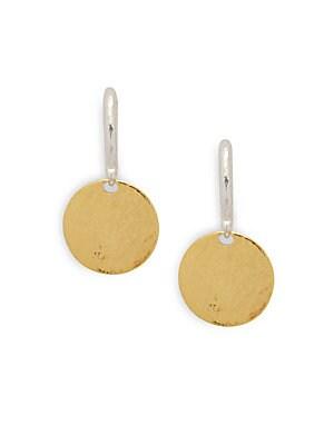 24K Gold & Sterling Silver Drop Earrings