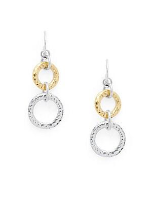 24K Gold & Sterling Silver Circle Drop Earrings