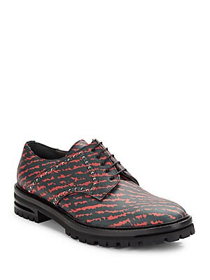 Printed Leather Derby Shoes