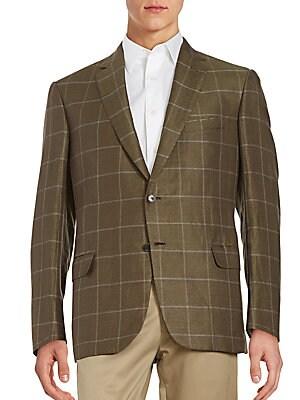Regular-Fit Windowpane Linen & Silk Sportcoat