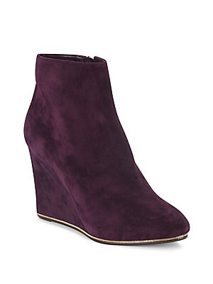 Chain-Trimmed Suede Wedge Ankle Boots