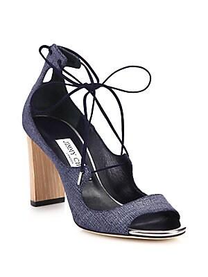 Vernie Denim Leather Lace-Up Sandals