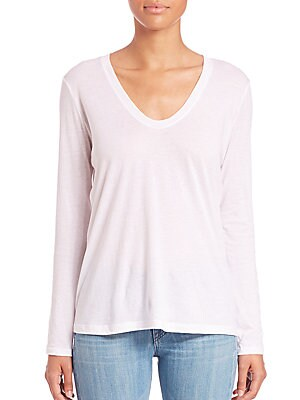 Long Sleeve Scoopneck Cotton & Cashmere T-Shirt