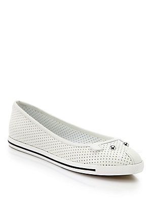 Perforated Leather Mouse Ballet Flats