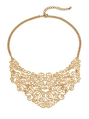 Goldtone Scrollwork Bib Necklace