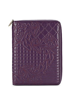 Quilted Embroidery Leather Zip-Around Wallet