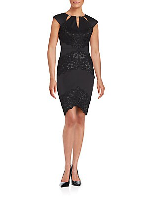 Lace-Trimmed Sheath Dress