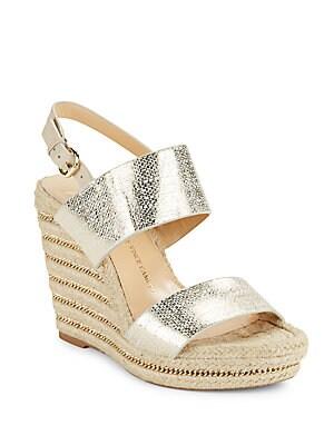Dacey Metallic Leather Espadrille Platform Wedge Sandals