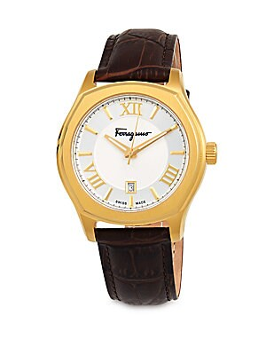 Embossed Leather Strap Watch