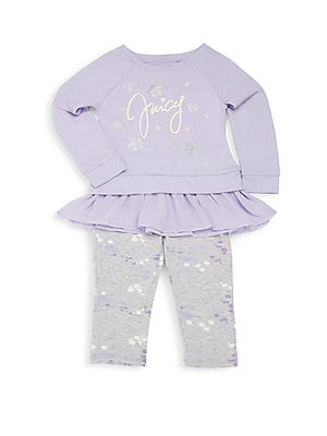 Little Girl's Ruffled Top & Printed Pants Set