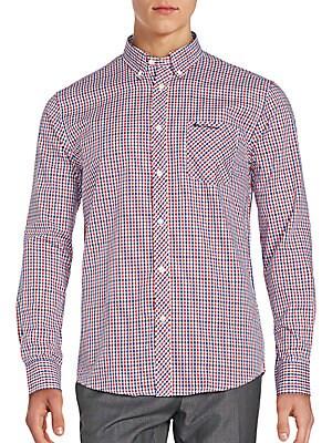 Cotton Blend Checkered Long Sleeve Shirt