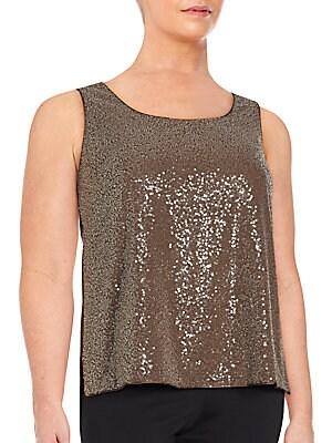 Sequin Embellished Silk Blend Top