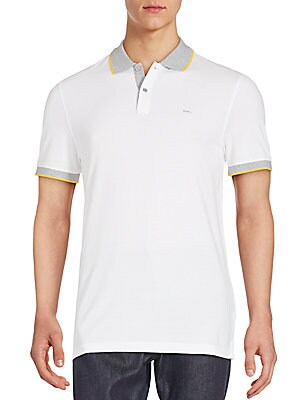 michael kors male 45883 contrasttipped pique cotton polo shirt