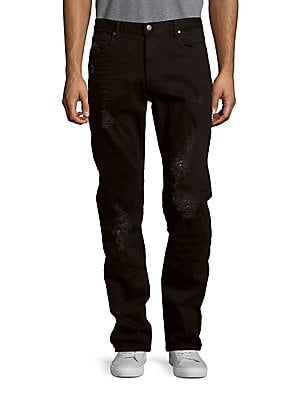 michael kors male solid distressed jeans