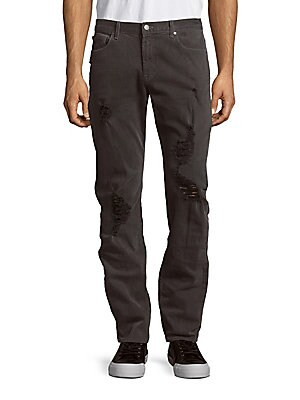 michael kors male solid fivepocket distressed jeans